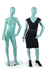 Clothed & Unpropped Blue Faceless Mannequin