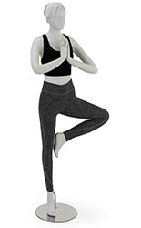 Matte White Yoga Mannequin with Vrikshasana Pose
