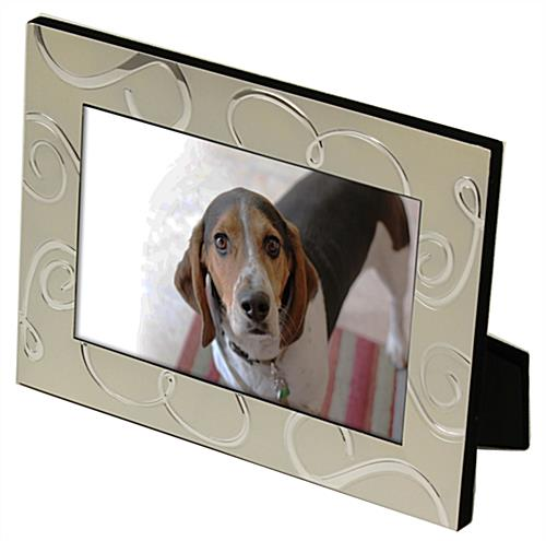 Silver Plated Frame with Mirrored Swirl Accents
