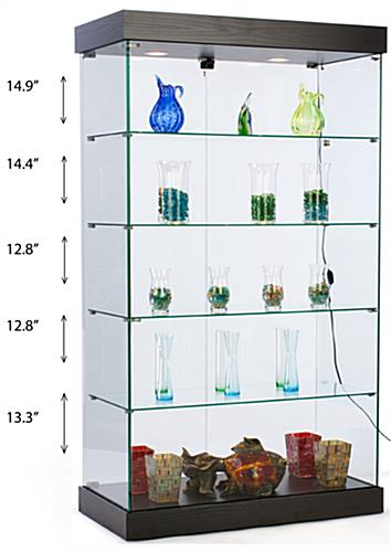 Frameless retail cabinet with 4 glass shelves