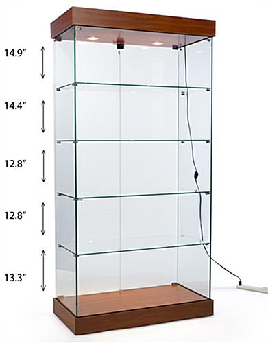 Full vision showcases with 4 glass shelves