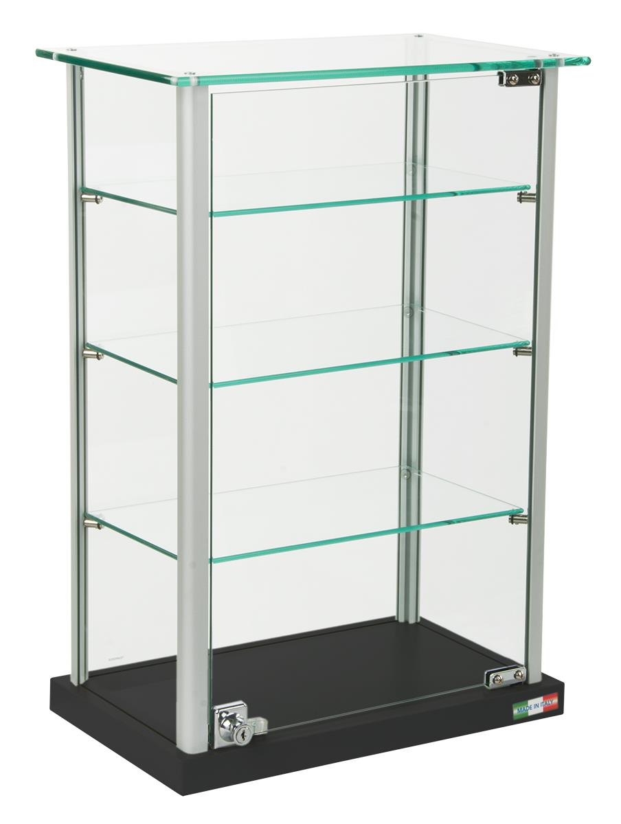 Small glass display case adjustable shelves locking for Small wall showcase