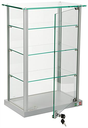 Countertop Display Case w/ Glass Canopy Top, 3 Shelves - Silver