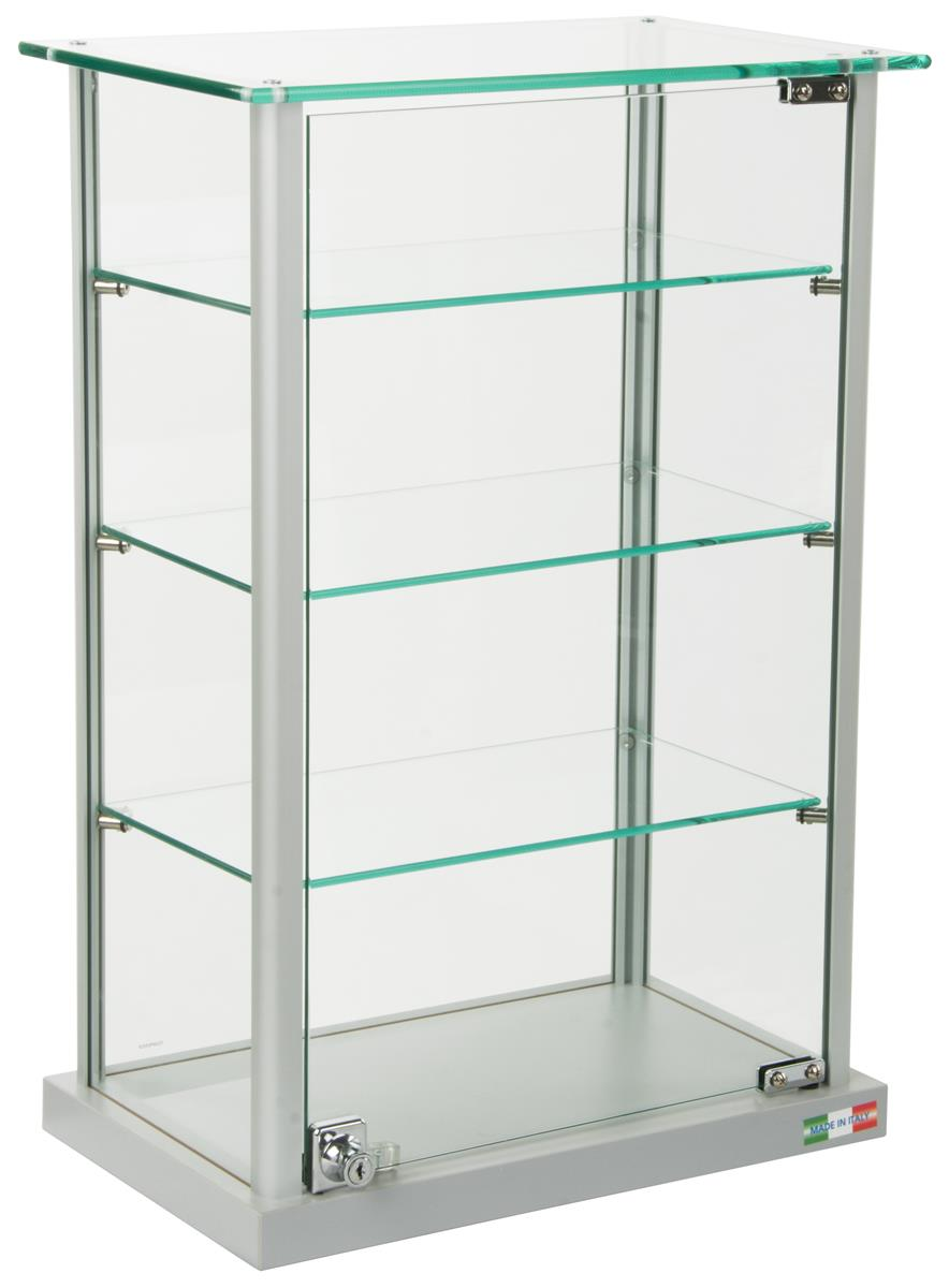 Glass Countertop Display Case Locking Hinged Doors