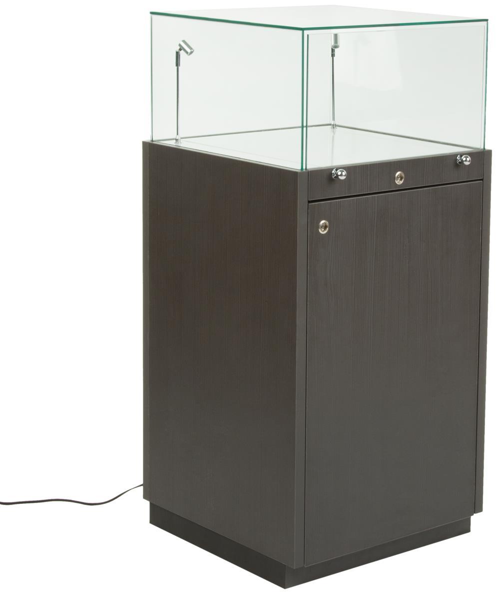 Exhibition Display Cabinet : Pedestal display case tilting led lights slide out