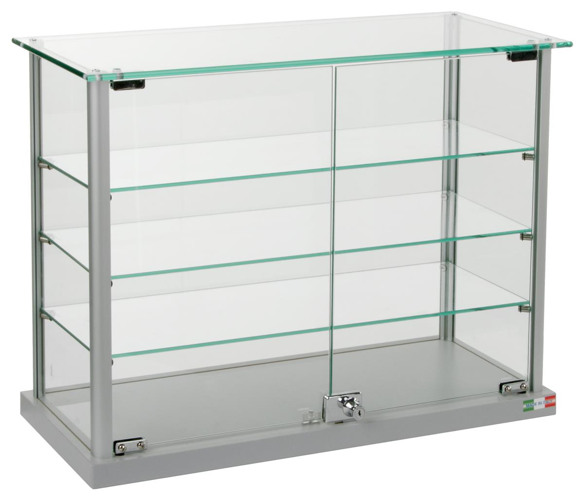 Aluminum Display Case Countertop Showcase With 2 Swing
