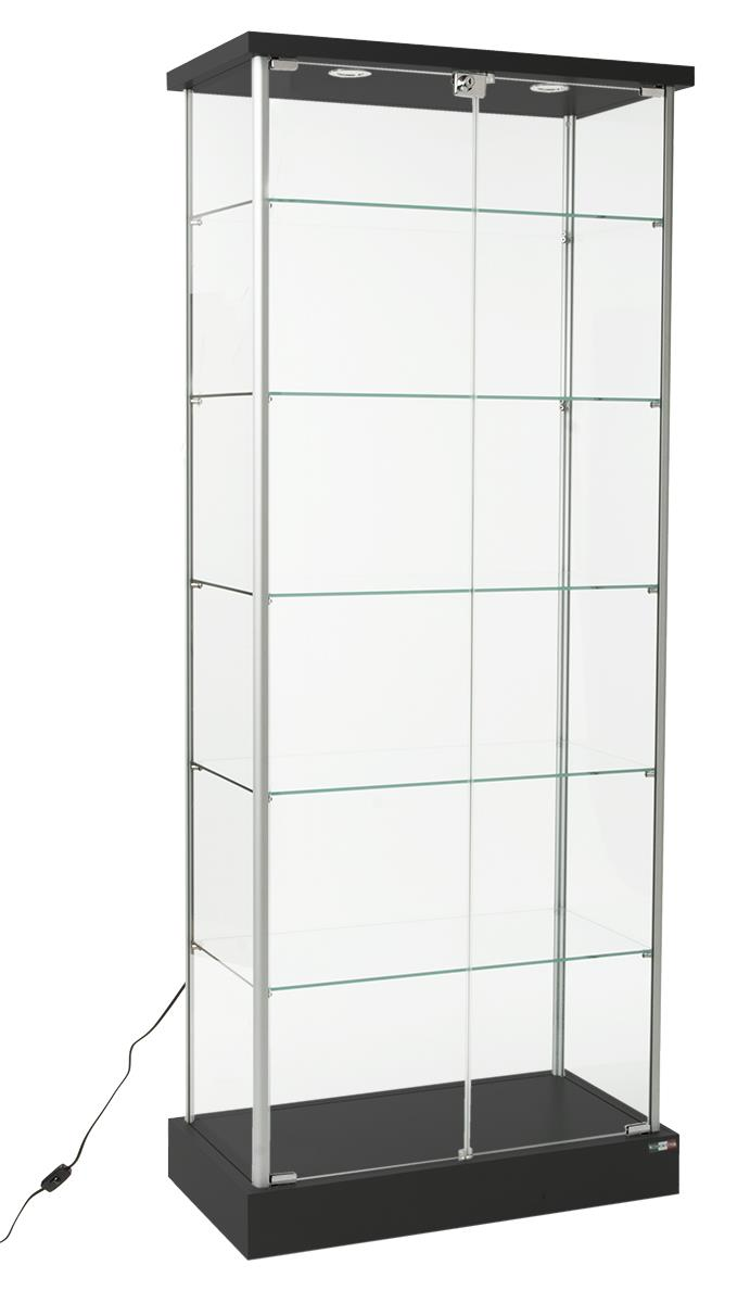 Retail Glass Display Case 2 Led Lights Amp Hidden Casters