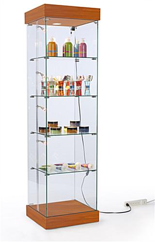 lighted cabinet tall tower style cherry display case. Black Bedroom Furniture Sets. Home Design Ideas