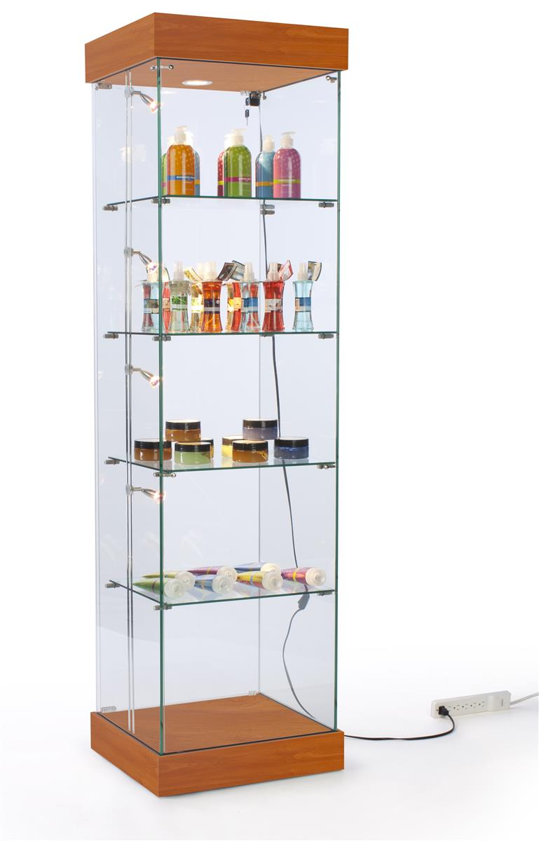 lighted cabinet tall tower style cherry display case large floating glass shelves large wall mounted glass shelves