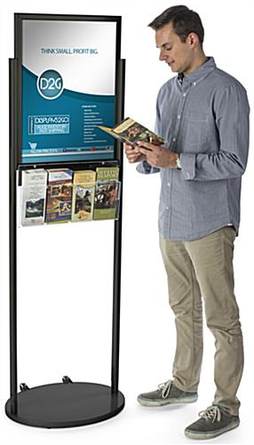 Black 18 x 24 Mobile Poster Stand with 4 Brochure Pockets, Rolling Base