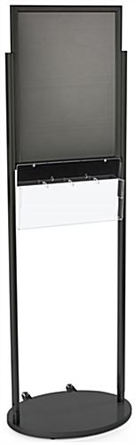 Black 18 x 24 Mobile Poster Stand with 4 Brochure Pockets, Powder Coated