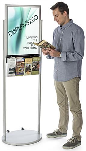 18 X 24 Silver Mobile Poster Stand With 4 Leaflet Pockets