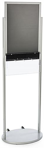 18 x 24 Silver Mobile Poster Stand with 4 Leaflet Pockets, Acrylic Holster