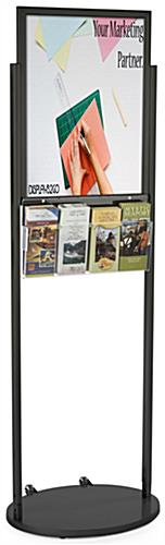 Black 18 x 24 Wheeled Poster Display with 8 Pamphlet Pockets with Poster Backer