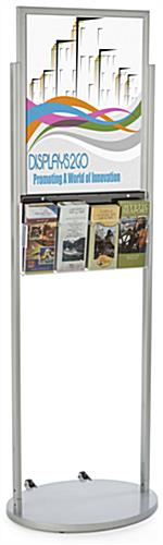 Silver 18 x 24 Wheeled Poster Display with 8 Flyer Pockets with Top Insert