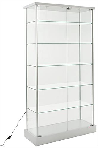 Glass Curio Cases Silver Base With Green Edge Shelves