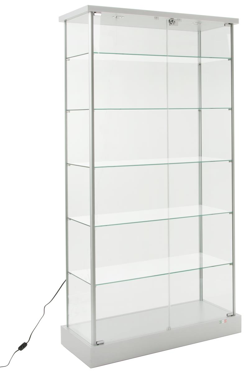 glass display cabinet 4 hidden casters 2 led lights