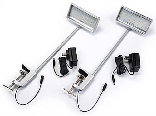 Set of 2 silver LED display arm lights