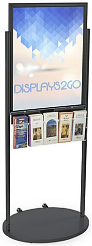 Freestanding Black 22 x 28 Mobile Poster Display with 10 Literature Pockets