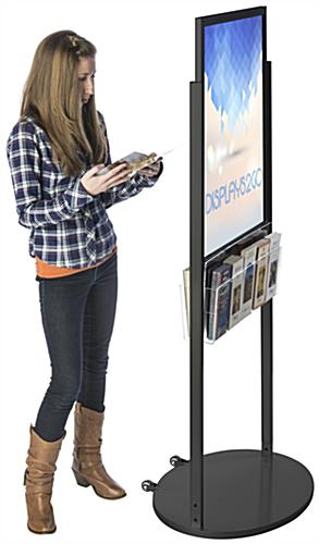 Black 22 x 28 Mobile Poster Display with 10 Literature Pockets for Visuals