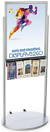 Freestanding Silver 22 x 28 Mobile Poster Display with 10 Information Pockets