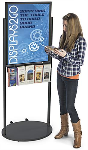 Black 22 x 28 Movable Poster Stand with 5 Literature Slots for Visuals