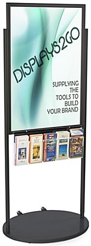Black 24 x 36 Mobile Poster Display with 10 Literature Slots, Floorstanding