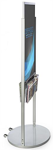 Mobile Silver 24 X 36 Poster Display with 10 Compartments for Brochures