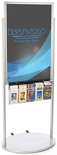 Floor Standing Mobile Silver 24 x 36 Poster Display with 10 Compartments
