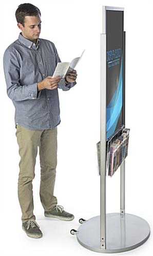 Mobile Silver 24 X 36 Poster Display with 10 Compartments for Leaflets