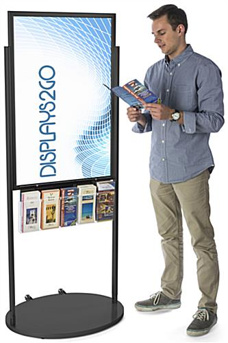 Black 24 X 36 Movable Poster Stand with 5 Literature Pockets for Leaflets