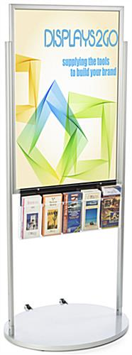 Silver 24 x 36 Moveable Poster Stand with 5 Literature Pockets, Powder Coated