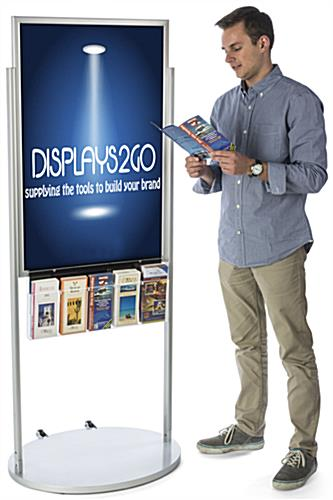 Silver 24 x 36 Moveable Poster Stand with 5 Literature Pockets, Non Glare