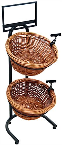 2 Tier Wicker Basket Stand with Price Holder Clips