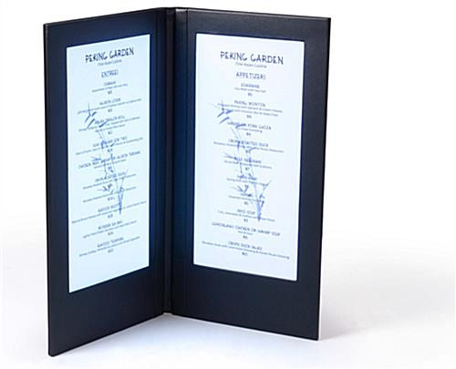 lighted menu led illuminated 2 page book