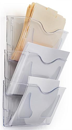 Clear Wall File Holder 3 Pockets For Stacking