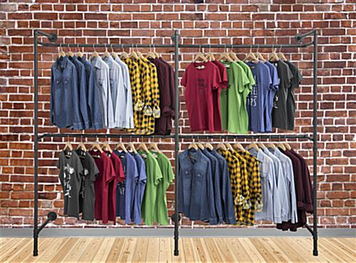 Industrial Wall Display Pipe Rack Showcasing Clothes in Modern Style Shop