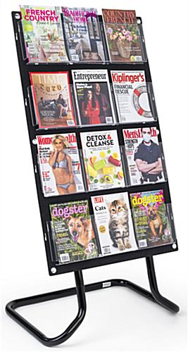 30.5 inch x 57.5 inch 4-tiered literature display stand has an easy snap-in place assembly