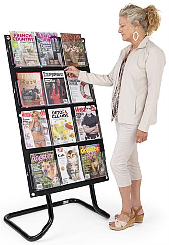 30.5 inch x 57.5 inch 4-tiered literature display stand with floor standing placement