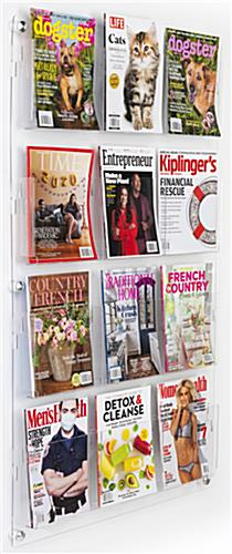 29 inch x 47.5 inch wall mounted acrylic literature display with 12 clear pocket dividers for magazines