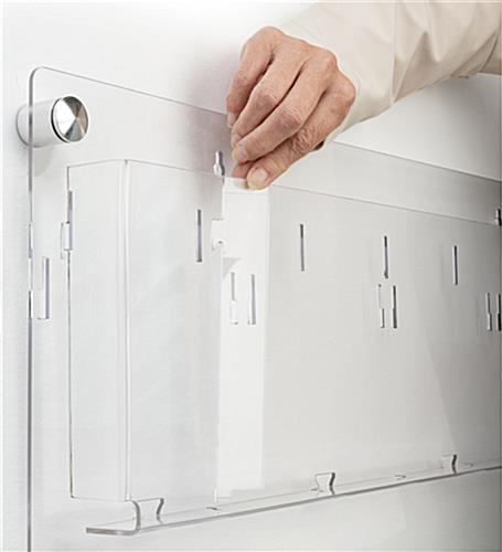 3-tiered acrylic literature wall rack with 9-18 pockets