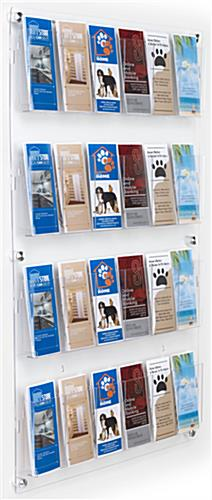 29 inch x 47.5 inch wall mounted acrylic literature display with adjustable pocket dividers