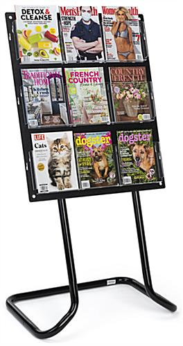 30.5 inch x 57.5 inch tiered acrylic literature floor stand with adjustable pockets to hold magazines