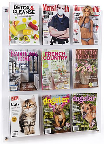 29.0 inch x 35.0 inch 3-tiered acrylic literature wall rack with 9 pocket dividers