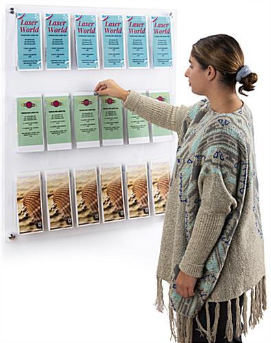 29.0 inch x 35.0 inch 3-tiered acrylic literature wall rack with multi-purpose pocket dividers