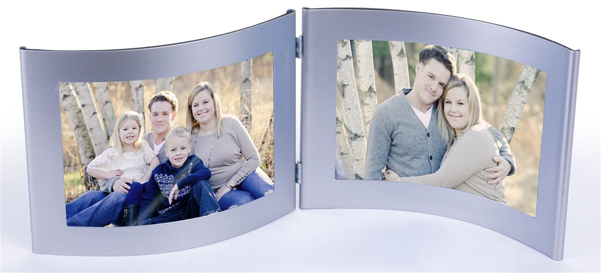 Displays2go 4 x 6 Double Picture Frame for Tables, Fold-O...