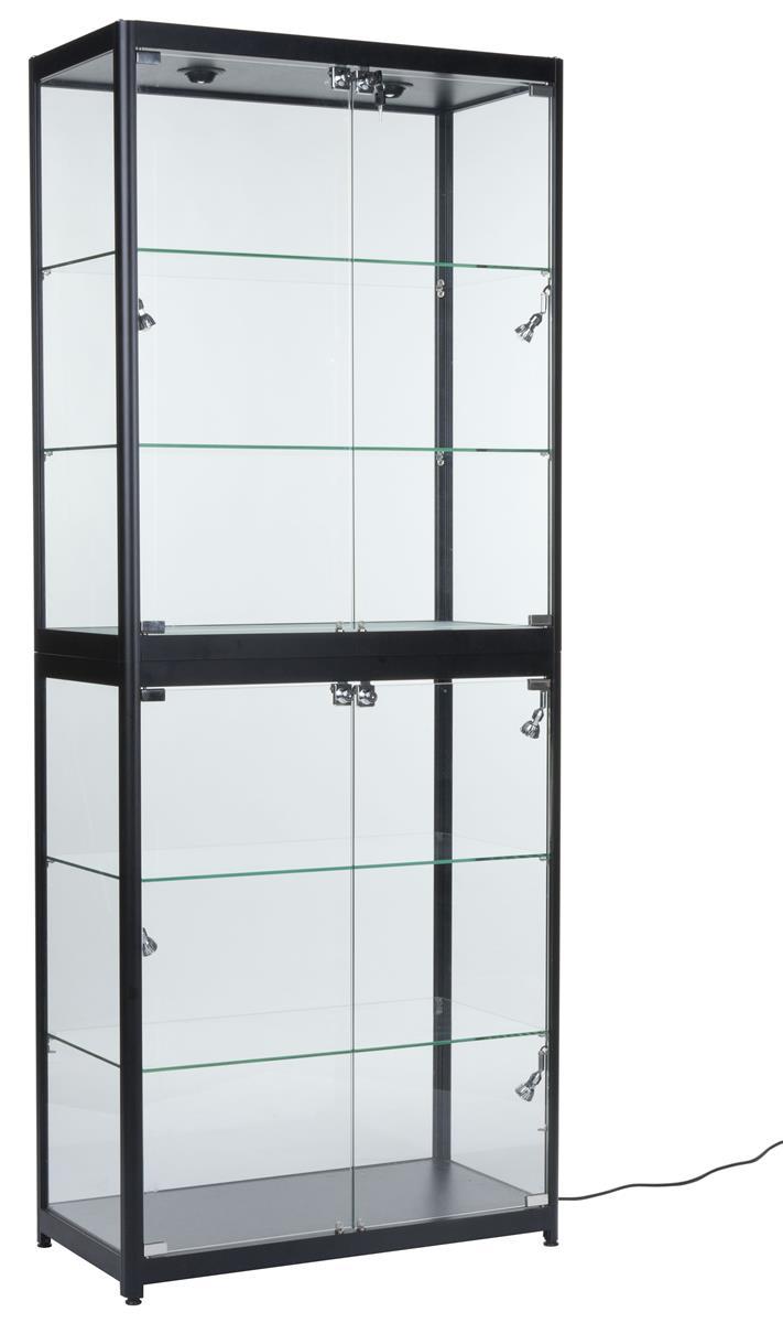 Displays2go Portable Display Case w/Top & Side Lights, Lo...