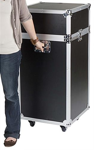 Portable Exhibition Display Cases : Portable trade show display case black showcase with