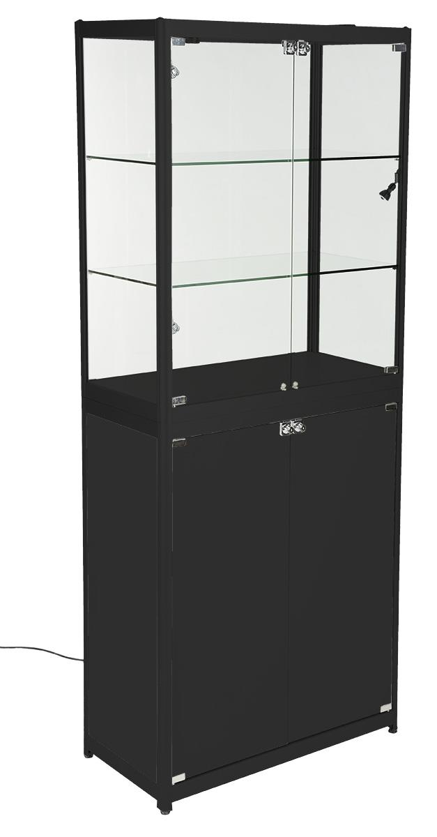 Black Portable Display Case Glass Cabinet With Enclosed