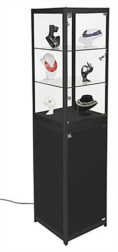 Portable Cabinets For Display : Portable showcase glass display tower with enclosed